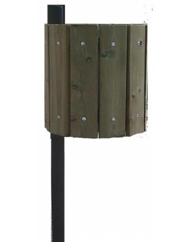 Cestino portarifiuti, con 12 tavole di pino nordico, interno in lamiera di acciaio zincato - capacità: 32 litri - diam. 40x120h