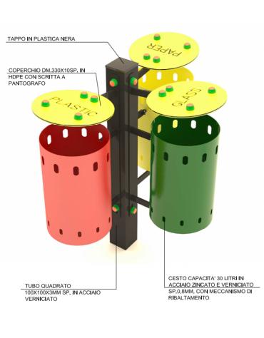 Cestino differenziata a 3 cesti in acciaio zincato verniciato con coperchio - capacità 30 litri a cesto - cm 85x58x100h