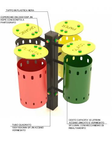 Cestino differenziata a 4 cesti in acciaio zincato verniciato con coperchio - capacità 30 litri a cesto - cm 82x82x100h