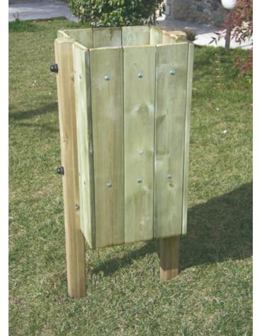 Cestino portarifiuti in legno di pino nordico, interno in acciaio zincato a caldo - capacità: 32 litri - cm 53x53x100h