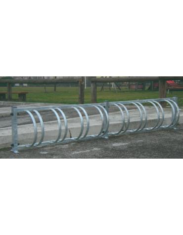 Portabiciclette orizzontale 8 posti componibile in acciaio zincato a caldo - cm 264X22X50h