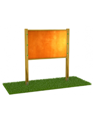 Bacheca con pali di pino nordico e panello in multistrato di betulla - cm 168x9x200h