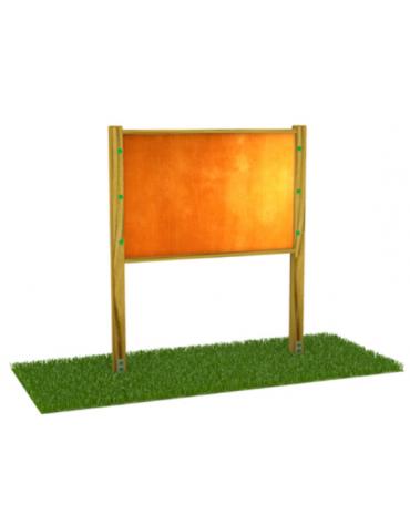 Bacheca con pali di pino nordico e panello in multistrato di betulla - cm 218x9x200h