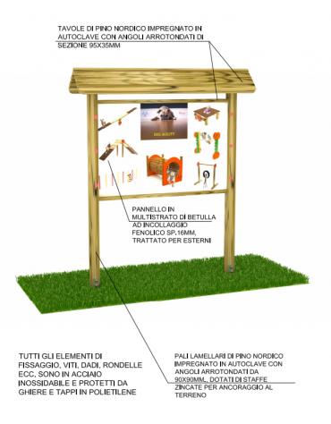 Bacheca con pali e tetto di pino nordico e panello in multistrato di betulla - cm 198x44x225h