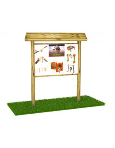 Bacheca con pali e tetto di pino nordico e panello in multistrato di betulla - cm 248x44x225h