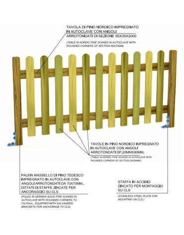 Steccato inglese doghe in pino piantone massello - cm 200x11x100h