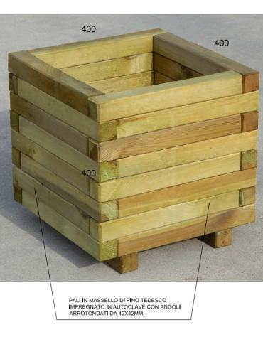 Fioriera con pali in massello di pino tedesco impregnato in autoclave con angoli arrotondati - cm 40x40x40h