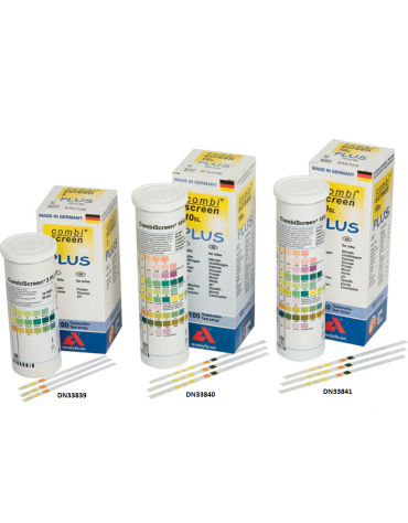 Strisce urine 3 parameteri per visual test: - glucosio  - proteine  - pH - tubetto da 100 strisce