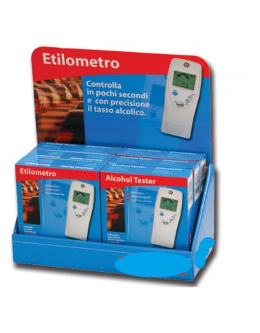 Espositore da banco in cartone, dimensioni 23 x 11.5 x 27 cm. Può contenere 6 etilometri cod. DN33870