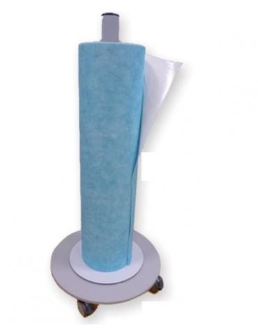 Carrello per rotoli cod. DN33922 - DN33923 -  DN33924, in acciaio inossidabile con 4 rotelle pivottanti (di cui 2 con freno)