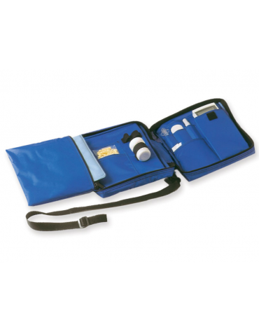 Borsa diabetici termica in nylon vinilico impermeabile vuota, colore blu - 24 x 18 x h 6 cm
