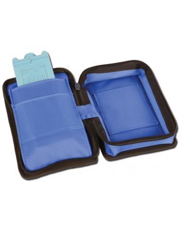 Mini borsa diabetici termica in nylon vinilico idrorepellente vuota, colore blu - 17 x 11,5 x h 5,5 cm