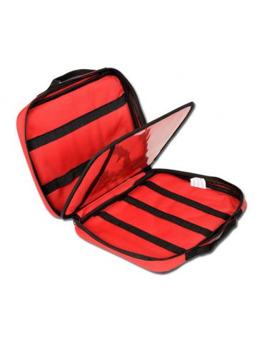 Borsa portafiale in nylon, fino a 9 fiale di qualsiasi misura, colore rosso - 29 x 22 x h 7 cm