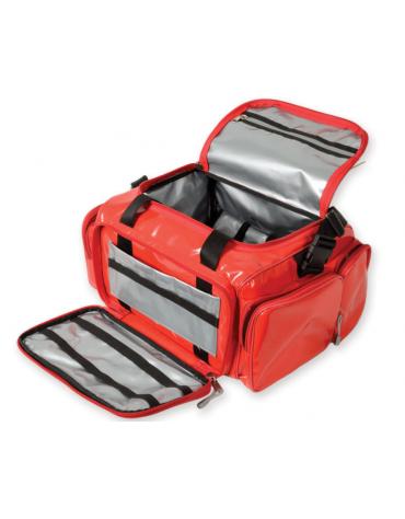 Borsa emergenza in poliestere rivestito di PVC, vuota, colore rosso - 35 x 45 x h 21 cm