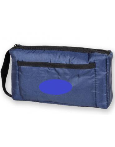 Borsa portasfigmo in nylon con interno imbottito, colore blu - 22 x 15,5 cm
