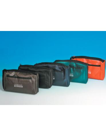 Borsa portasfigmo in nylon con interno imbottito, colore verde - 22 x 15,5 cm