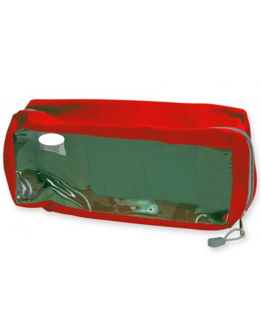 Borsetta in poliestere rettangolare con finestra, colore rosso - 28 x 12 x 10 cm