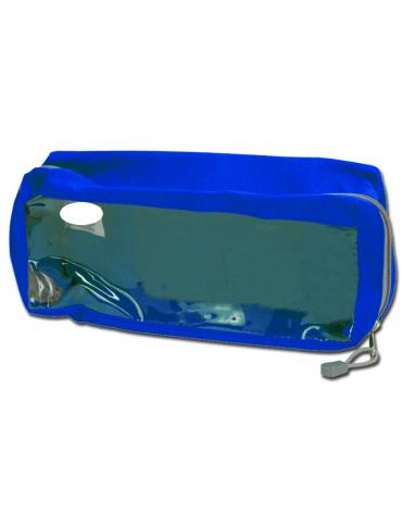 Borsetta in poliestere rettangolare con finestra, colore blu - 28 x 12 x 10 cm