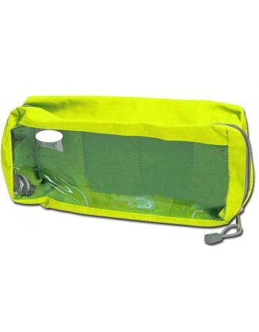 Borsetta in poliestere rettangolare con finestra, colore giallo - 28 x 12 x 10 cm