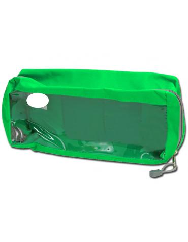 Borsetta in poliestere rettangolare con finestra, colore verde - 28 x 12 x 10 cm