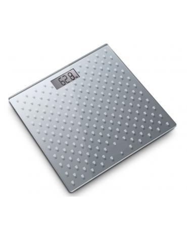 Bilancia da bagno elettronica con pedana in vetro temperato di 6 mm di spessore, grigio, portata max 150 kg. - cm 30x30x1,9h