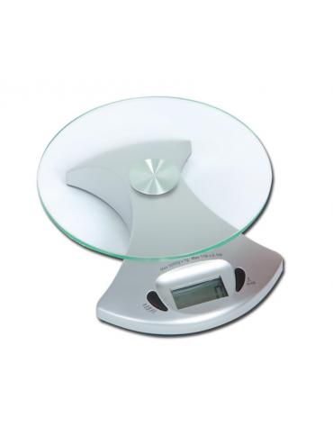 Bilancia di precisione con vetro temperato Ø 160 x 4 mm, funzione tara, kg/ls-oz, portata 5 kg. - 185 x 158 x h 50 mm
