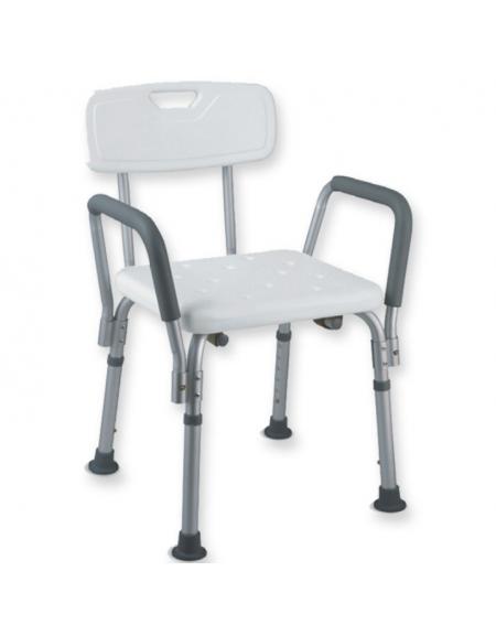 Sedia da doccia con braccioli in alluminio, seduta e schienale in ...