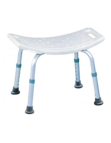 Sgabello da doccia fisso in alluminio e seduta in plastica di 50 x 30 cm - altezza regolabile 35-45 cm - portata max 100 kg.