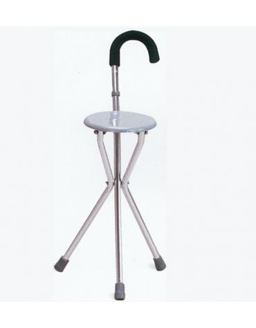 Bastone in alluminio con seduta, altezza 84 cm, peso: 0,9 kg, portata massima 100 kg