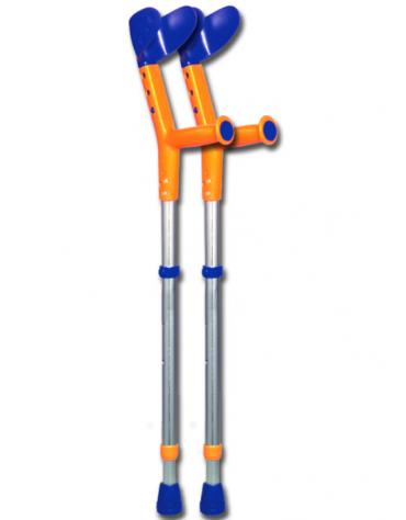 Stampelle Tiki, colore Blu/arancio, impugnature altezza da terra cm 52/74
