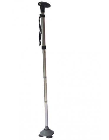 Bastone in alluminio Trusty Cane, colore argento, pieghevole, 3 piedini antiscivolo, altezza reg. cm 85/97