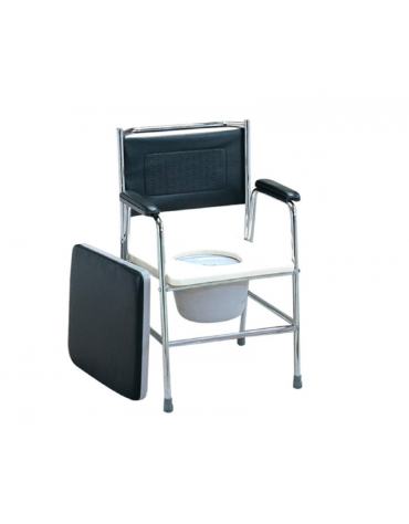 Sedia da comodo in acciaio cromato, seduta comoda in plastica, removibile, cm 56x43x94h