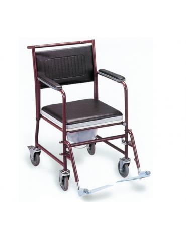 Sedia comoda in acciaio, braccioli e poggiapiedi removibili, solide ruote posteriori con bloccaggio - cm 48x90x92h