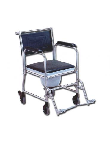 Sedia comoda in acciaio inox, braccioli e poggiapiedi removibili, solide ruote posteriori con bloccaggio - cm 48x90x92h