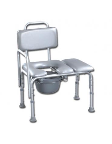 Sedia da bagno con schienale in alluminio, seduta imbottita, portata max 100 kg. - cm 63x42x83/93h