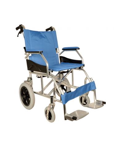 Carrozzina pediatrica pieghevole, seduta 46 cm - tessuto azzurro, portata mx 100 kg. altezza max cm 90