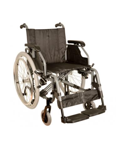 Carrozzina in alluminio pieghevole, seduta 46 cm - tessuto nero, portata mx 100 kg. - altezza max cm 89