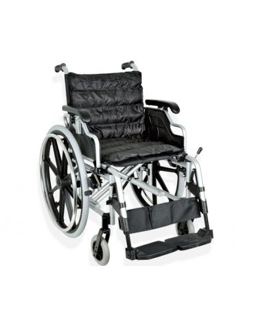 Carrozzina in alluminio pieghevole, seduta 46 cm - tessuto nero, portata mx 100 kg. - altezza max cm 91