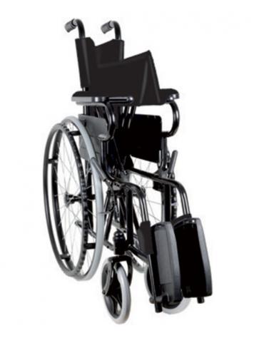 Carrozzina in acciaio pieghevole, seduta 46 cm - tessuto nylon nero, portata mx 100 kg. altezza max cm 91
