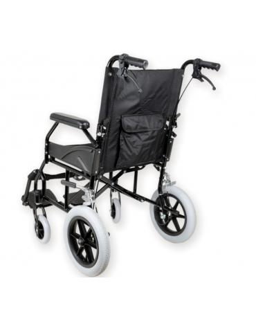 Carrozzina in acciaio pieghevole Transit, seduta 46 cm - tessuto nero, portata mx 100 kg. altezza max cm 91