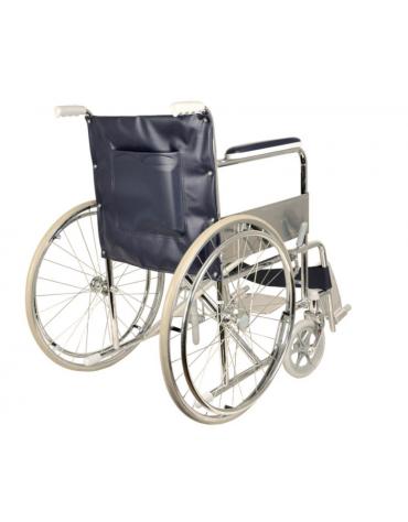 Carrozzina in acciaio pieghevole Standard, seduta 46 cm - tessuto blu, portata mx 100 kg. altezza max cm 87
