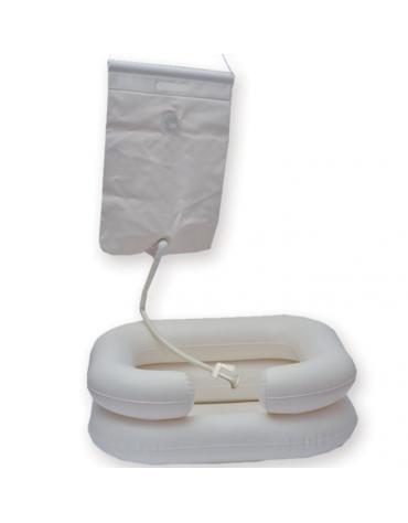 Bacinella gonfiabile ideale per lavare la testa alle persone allettate, portatat 10 lt. - cm 53x61x20h