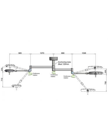 PENTALED 63N+30N doppio - 320.000 LUX - compact  a 72 riflettori ellittici in 8 moduli da 9 LED ciascuno - durata LED: 50.000 h