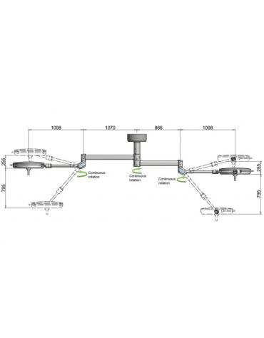 PENTALED 63N + 63N - 320.000 LUX - plus 72 riflettori ellittici suddivisi in 8 moduli da 9 LED ciascuno - durata LED: 50.000 h