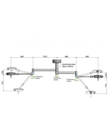 LAMPADA SCIALITICA PENTALED 30E - da soffitto - doppia - 30 riflettori in 6 moduli a 5 LED - 160.000 LUX