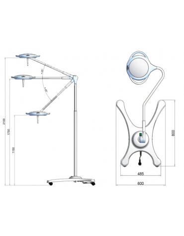 Lampada PENTALED a 12 riflettori ellittici - su carrello + batteria, luce fredda 100.000 Lux