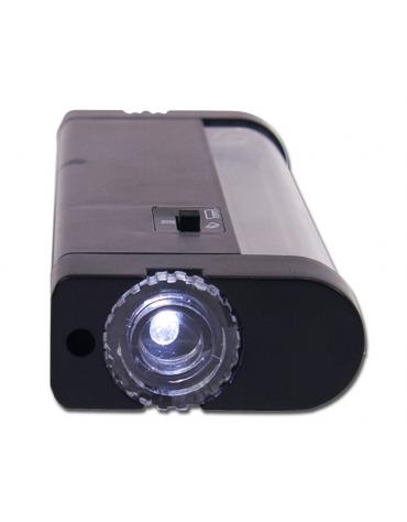 Lampada di Wood tascabile dotata anche di una luce normale nella parte frontale - batterie 4xAA, autonomia 4-6 ore