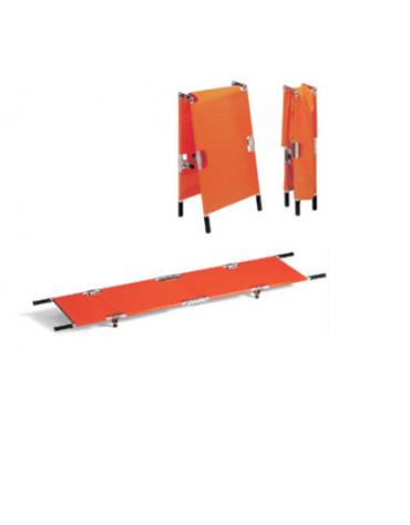 Barella soccorso pieghevole in 2, in alluminio, 3 tre traversi in ferro, telo in nylon resistente, impermeabile ed antistrappo