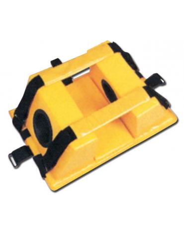 Fermacapo, realizzato in schiuma PE ricoperta con vinile, previene qualsiasi movimento della testa del ferito