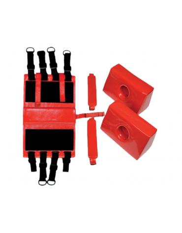 Fermacapo rosso, realizzato in Schiuma NBR rivestita di PVC, previene qualsiasi movimento della testa del ferito
